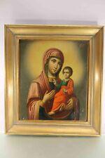 Antike Ikone Maria mit Kind gemalt gerahmt TOP