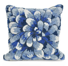 """PILLOWS - """"BLUE CHRYSANTHEMUM"""" HAND TUFTED INDOOR OUTDOOR PILLOW - 18"""" SQUARE"""