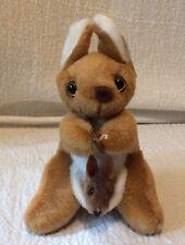 Softoi Australia Plush Kangaroo Mom & Baby Holding Boomerang Souvenir