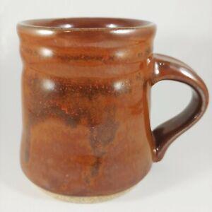 HANDMADE Signed Pottery Bronze Metallic Brown Stoneware Coffee Mug Cup 12oz