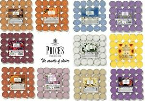 Price's scented / Unscented tea lights 25 Pack  candles tealights 14 Scents