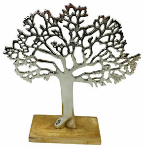 Silver Metal Tree Life Ornament On Wooden Base Home Decor Sculpture Gift 26.5cm