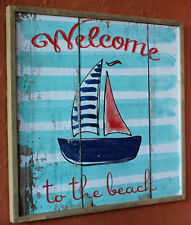 """REDUCED   Solid wood """" Beach House """" Wall Plaque     BRAND   NEW"""