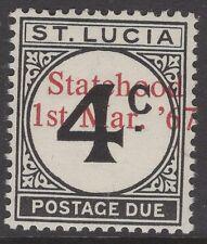 ST.LUCIA SGD12var 1967 UNISSUED 4c POSTAGE DUE OVERPRINTED STATEHOOD IN RED MNH
