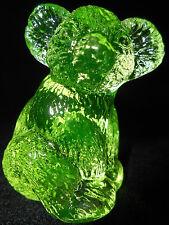 Neon Green Vaseline Hazel Koala Bear glass Figurine uranium yellow jungle animal