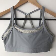 LORNA JANE Size Small Crop Sports Bra Grey Cream Lace Double Layer Dance Yoga