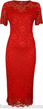 Ladies Women's Plus Size Twin Layer Floral Lace Bodycon Contrast Midi Dress Red 20
