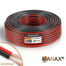 50m (2x 25m Ring) CCA-Lautsprecherkabel 2x2,5mm² Lautsprecher-Kabel Boxenkabel