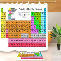 Rainbow Color Periodic Table of the Elements Shower Curtain Hooks Bathroom Set