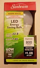 Sunbeam Led 9w Bulbs Warm White Medium Base A19 60w Replacement 800 Lumens New