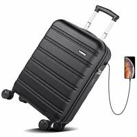 REYLEO USB Charging Luggage 20in PC+ABS Carry on Luggage Travel Suitcase Built-i