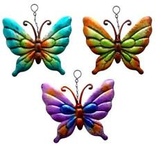 Set Of 3 Metallic Butterfly Garden Hanging Wall Ornaments Metal Butterflies