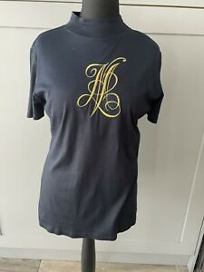 Mondi Vintage Black Gold T Shirt Top  Size 40 UK 12/14  1980's