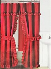 DOUBLE SWAG FABRIC SHOWER CURTAIN, LINER, RINGS, DOBBY DOT DESIGN
