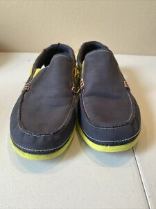 Crocs Mens Beach Line Slip On Boat Shoes  Size 12 Navy Blue Lime Green (15386)