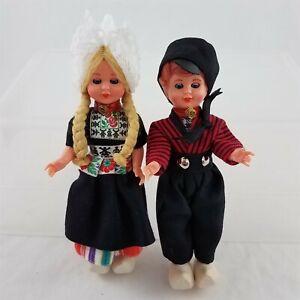 Vintage Pair of Dutch Holland Dolls Volendam Girl Boy Wooden Shoes Sleepy Eyes