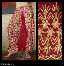 Harem Pants Belly Dance Red w/ Gold Brocade Slit 4