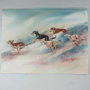 Marcia Van Woert Original Watercolor Painting Signed Dated 1993  Saluki Dogs