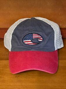 Costa Del Mar Red White Blue Patriotic Flag Adjustable Mesh Back Logo Hat Cap