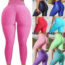 Women Anti-Cellulite Yoga Pants High Waist Ruched Butt Lift Leggings Fitness PP3