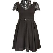 City Chic Black Eyelash Lace Skater Dress Size UK 24 LF077 EE 09