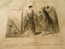 Caricature 1849 - Chambre à louer les anciens locataires etaient un peu bruyant