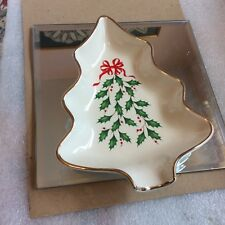 Lenox Ivory Holiday Tree Dish w/Red Ribbon Nib