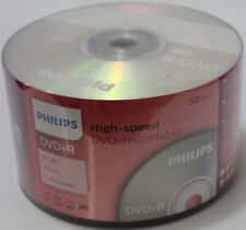 50 Philips Blank DVD-R DVDR Logo Branded 16X 4.7GB Recordable Media Disc