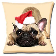 "NEW FAWN FRENCH BULLDOG SANTA HAT CHRISTMAS PHOTO PRINT 16"" Pillow Cushion Cover"