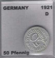 German 1921 D 50 Pfennig Coin VF