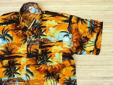 hawaiihemd Chemise de Hawaii orange jaune Palmiers Noir