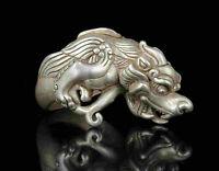 Collect Rarity China Hand-Carved Precious Tibetan Silver Ring PI Xiu Statue