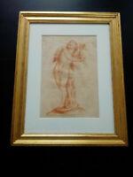 Rare grande sanguine XVIIIème siècle dessin Amour tableau collection Charles