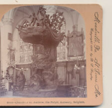 Church of St Andrew the Pulpit Antwerp Belgium Keystone Stereoview 1900
