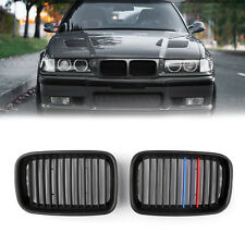 1Pair Matte Black Front Hood Grille Kidney For BMW E36 3 Series M3 1992-1996 USA