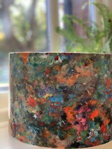 Handmade Lampshade Renoir Artisan Soft Velvet Fabric Green Multicoloured