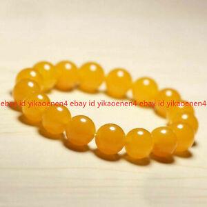 Natural 6/8/10/12mm Yellow Jade Topaz Gems Beads Elastic Bracelet Bangle 7.5''
