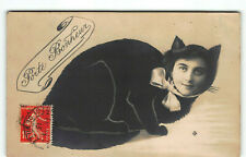 Weird Surreal Pussy Cat Lady Trick Photo -RPPC Real Postcard France -Studio P5