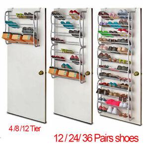 4/8/12 Tier Over The Door Hanging Shoe Rack Organiser Stand Shelf Holder Storage