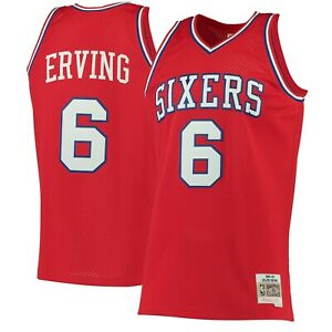Julius Dr J Erving 76ers Red Mitchell & Ness 1982-83 HWC Swingman Jersey Jordan