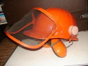 Safe-tex 700 Chainsaw hard hat helmet face shield Peltor ear protection vintage