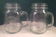 2 Golden Harvest Glass Drinking Jars Green Tint rounded