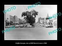 OLD LARGE HISTORIC PHOTO OF GRIFFIN GEORGIA, VIEW OF HILL St & STORES c1960