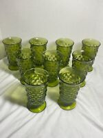 Set of 9 Vintage Green Cubist Indiana WHITEHALL Footed Glasses