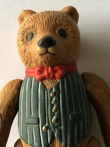 """TEDDY BEAR Bisque Wearing Vest & Red Bow Tie 4"""""""
