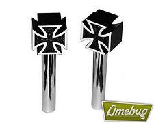 Mooneyes Black Iron Cross Door x2 Pair Pins Pulls Locks Universal VW Beetle Golf