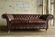 HANDMADE 3 SEATER VINTAGE ANTIQUE BROWN LEATHER CHESTERFIELD SOFA COUCH CHAIR