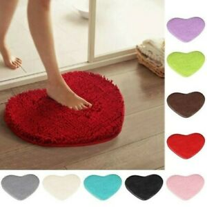 Love Heart Shaped Fluffy Rugs Shaggy Floor Mat Home Bedroom Hairy Carpet Pad