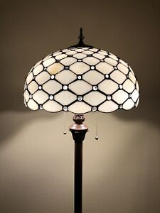 Enjoy Tiffany Style Floor Lamp Stained Glass Crystal Beans Vintage 64H16W EF1606