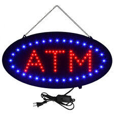 "Bright Led Atm Sign Animated Motion Display On/Off Switch 19"" Lx 10""W Oval""Atm"""